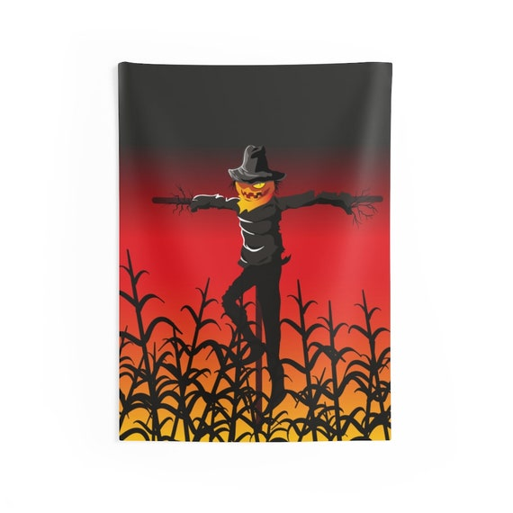 Scarecrow In Wheat Field Indoor Wall Tapestry, Jack-O-Lantern, Halloween Sign, All Hallows Eve, Wall Decor, Room Decor