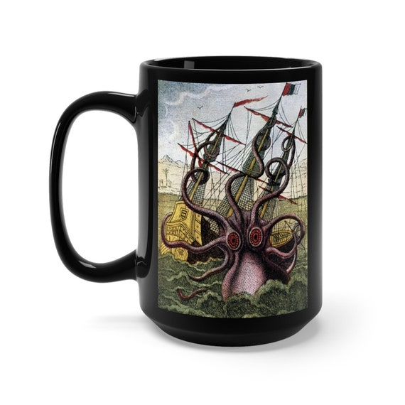 Kraken Attacks Ship Off Egypt, Large Black Ceramic Mug, Early 1800s, Sea Monster, Giant Octopus, Coffee, Tea