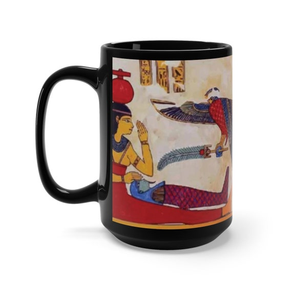 The Birth Of Osiris, Black 15oz Ceramic Mug, Ancient Egyptian Painting