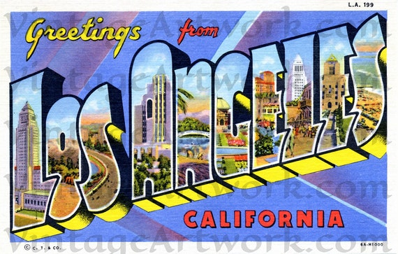 Greetings From Los Angeles Postcard Front, Digital Download, Curt Teich & Co. Publisher,  1936