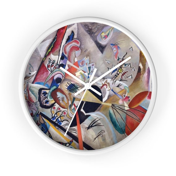 "In Grey, 10"" White Wall Clock, Vintage Abstract Painting, Wassily Kandinsky, 1919"