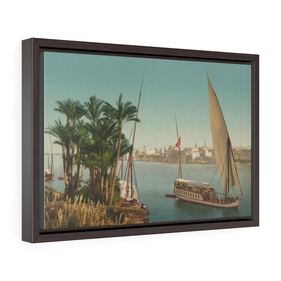 """Nile Sailboat Near Cairo Egypt, 18""""x12"""" Framed Gallery Wrap Canvas, From An Antique/Vintage Victorian Postcard"""