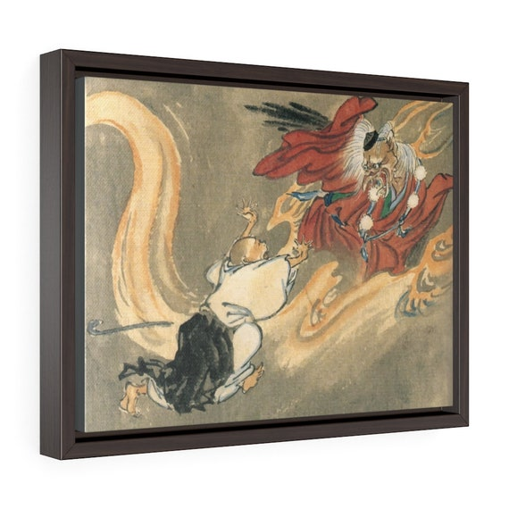 """Tengu And A Buddhist Monk, 16""""x12"""" Framed Gallery Wrap Canvas, Japanese Folklore, Room Decor"""