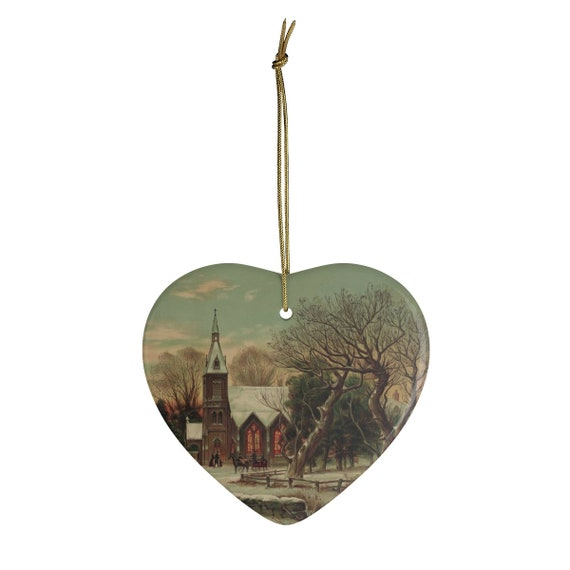 Ceramic Christmas Ornament With Vintage Antique Lithograph Of Winter Church Scene Circa 1890 To 1900