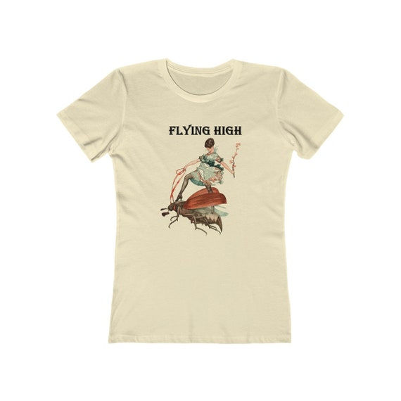 Flying High, Women's Boyfriend Tee, Vintage/Antique Illustration, Jazz Age Woman Riding A Large Flying Insect