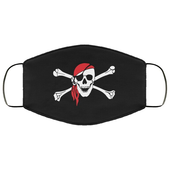 Skull & Crossbones, Large Face Mask, Breathable, Washable, Reusable, Pirate Flag, Jolly Roger