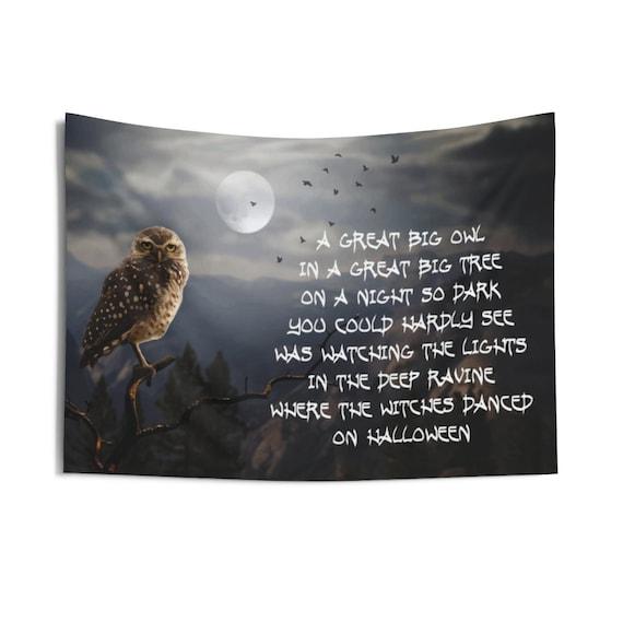 Great Big Owl, Indoor Wall Tapestry, Halloween, Room Decor