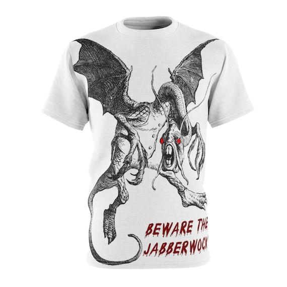 Beware The Jabberwock, Unisex T-shirt, Vintage Illustration. Alice, Through The Looking Glass, AOP