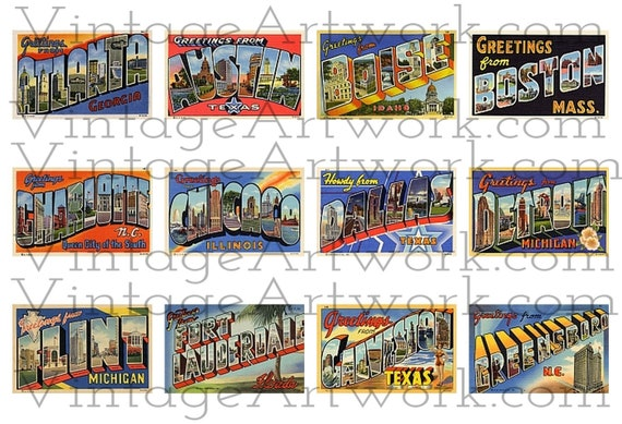"48 U.S. City Postcards - Digital Images Of Antique Vintage, Large Letter, ""Greetings From""  Postcards, By Curt Teich Co. Circa 1933-1950."