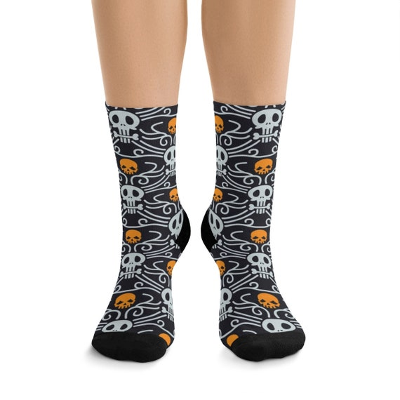 Day Of The Dead Premium Crew Socks, One Size Fits Most, Vintage Inspired Traditional Pattern For Día De Muertos