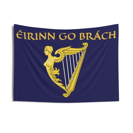 "Eirinn Go Brach, 36""x26"" Indoor Wall Tapestry, Ireland, Blue Harp Flag, Coat Of Arms, Irish Pride, Wall Decor, Room Decor"