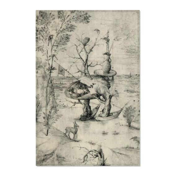 Tree Man Sketch, Area Rug, Surreal, Hieronymus Bosch