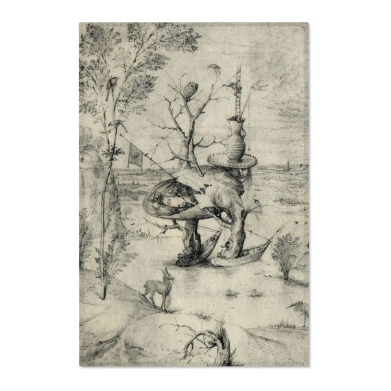 Tree Man Sketch, 2'x3' Door Mat & 4'x6' Area Rug Sizes, Surreal, Hieronymus Bosch