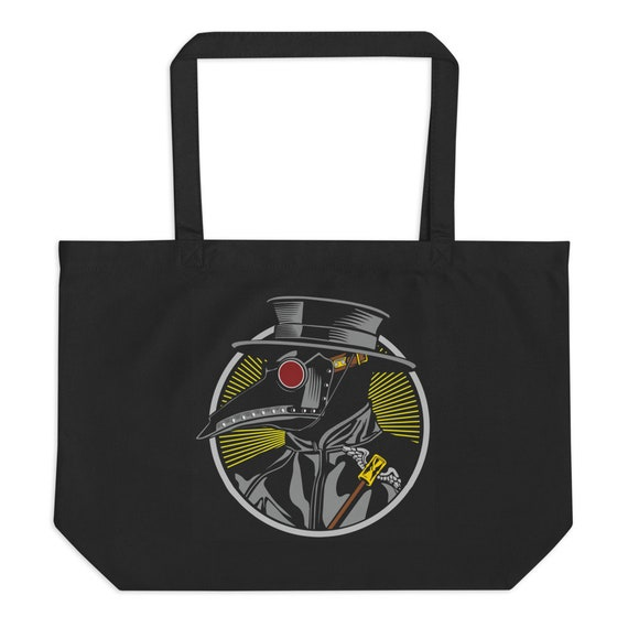 Plague Doctor, Large Organic Tote Bag, Vintage Inspired Steampunk Image