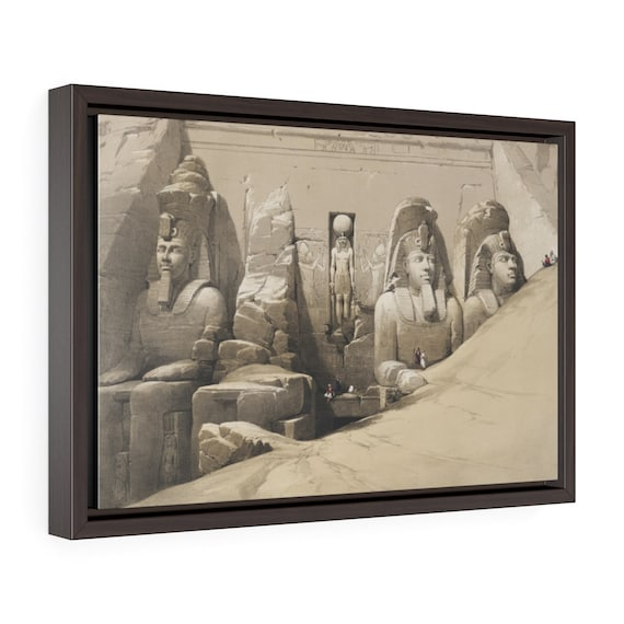 """Abu Simbel Temple - Front, 18""""x12"""" Framed Gallery Wrap Canvas, 19th Illustration, Egypt"""