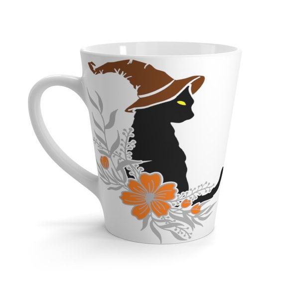 Witches Familiar Latte Mug, Halloween, Black Cat, Coffee, Tea, Witchcraft