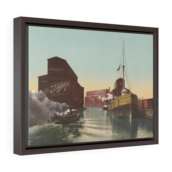 "Chicago River Elevators, 16""x12"" Framed Gallery Wrap Canvas,, Antique Postcard, Circa 1900, Illinois, Americana, Schlitz Beer Sign"