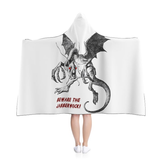 "Beware The Jabberwock, 80""x56"" Hooded Blanket, Alice, Through The Looking Glass"