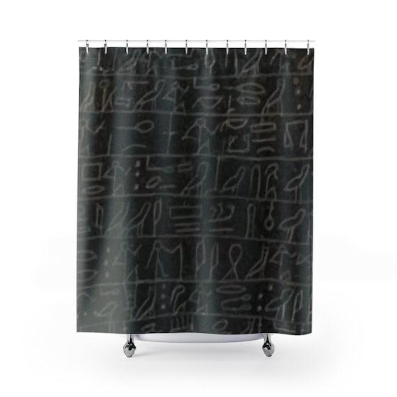 Heart Scarab, Shower Curtain, Ancient Egyptian Hieroglyphs