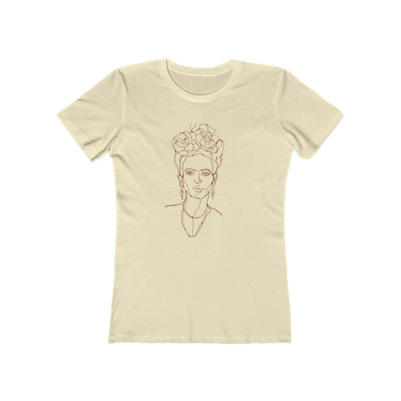 Frida Kahlo Women's Boyfriend Tee, Line Art Illustration