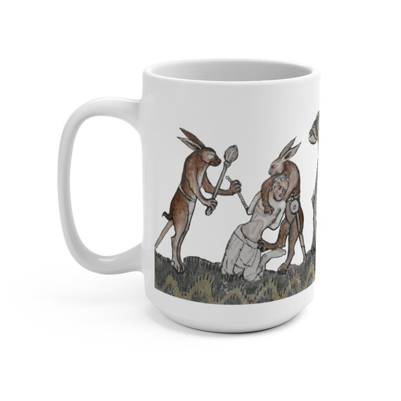 Medieval Rabbit Captures Man White 15oz Ceramic Mug, From Medieval Manuscript, Marginalia, Coffee, Tea