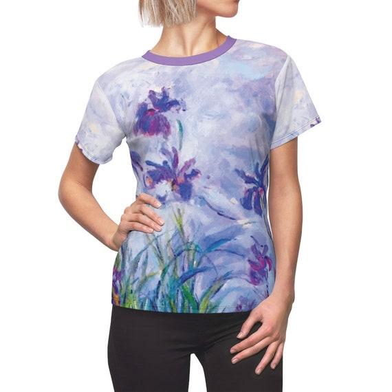 Lilac Irises v1 Women's Top, Claude Monet, AOP
