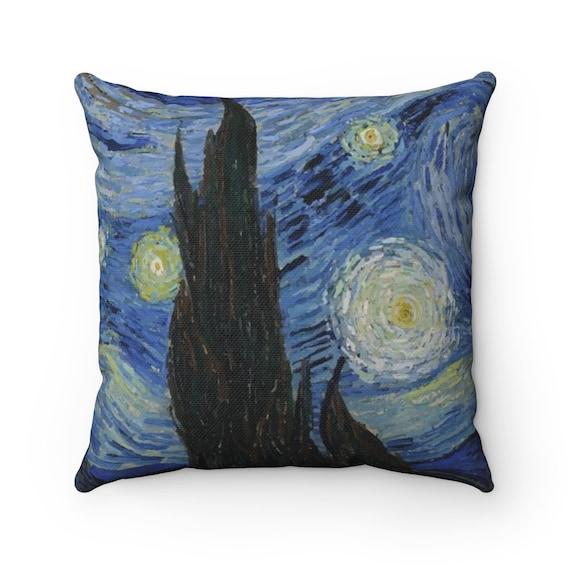 Starry Night, Spun Polyester Square Pillow, Vintage Painting, Van Gogh 1889