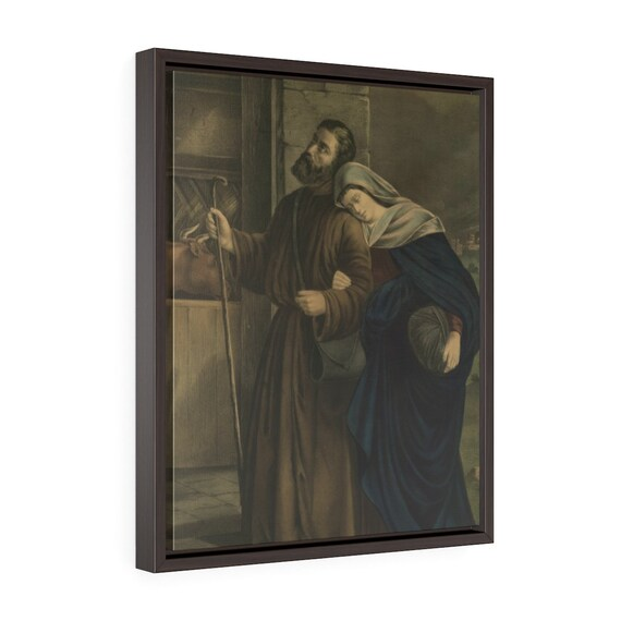 Framed Wrapped Canvas Of Vintage Antique Lithograph Of The First Christmas Eve Circa 1900