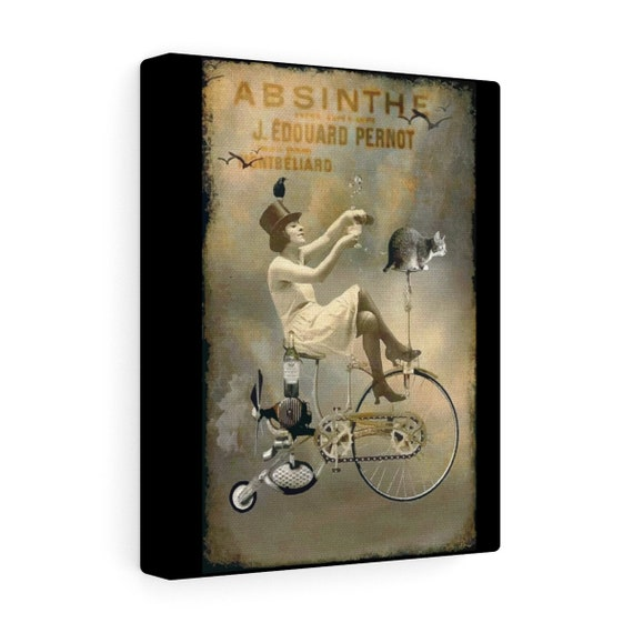 Riding High - Wrapped Canvas With An Image From An Antique Vintage Surreal Absinthe Advertisement, Circa 1920.