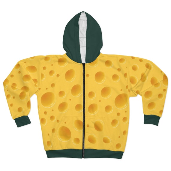 Cheese Hoodie With Green Hood & Trim, Unisex, Zipper, Fleece, For Green Bay Packers Games. For a Cheesehead!