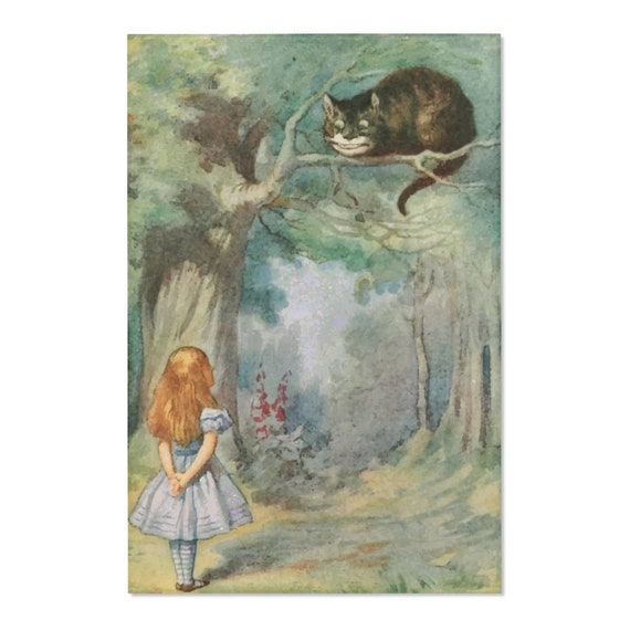 Alice Meets The Cheshire Cat, Area Rug, Vintage Illustration, 1911 Edition Alice's Adventures In Wonderland