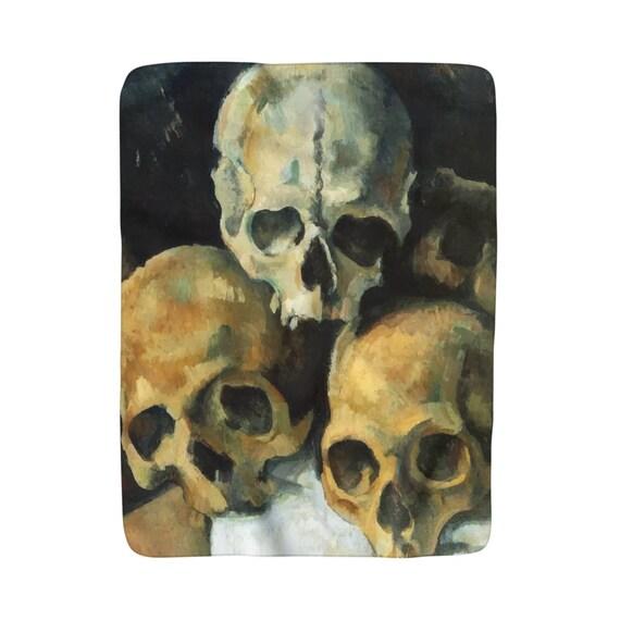 "Pyramid Of Skulls, Sherpa Fleece Blanket, Vintage, Antique Painting, Paul Cezanne, 1900, 50""x60"""