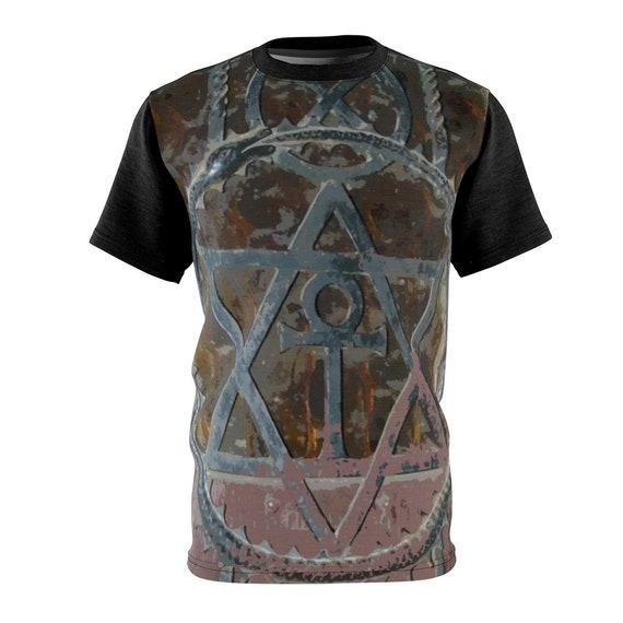 Cosmic Doorway, Unisex T-shirt, Vintage Image From Rusted Antique Door, AOP