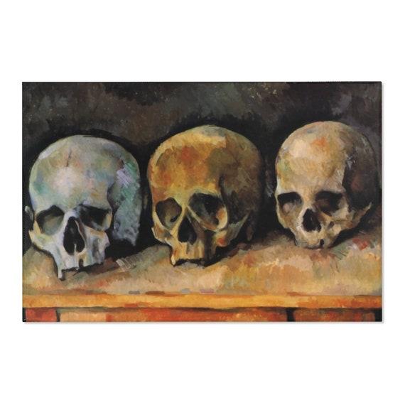 Three Skulls, 2'x3' Door Mat & 4'x6' Area Rug Sizes, Vintage Painting, Cezanne, 1900