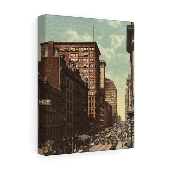 Wrapped Canvas With Vintage Photo Of Randolph Street In Chicago From An Antique Postcard Circa 1890 To 1900