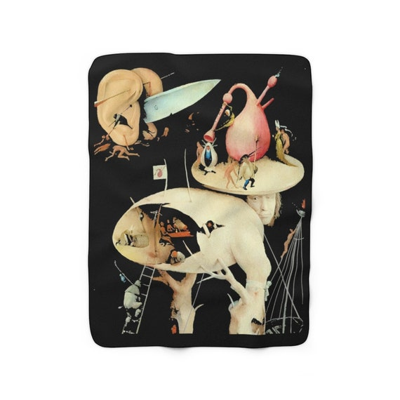 Hieronymus Bosch Sherpa Fleece Blanket, Surrealism, Tree Man Section From The Garden of Earthly Delights