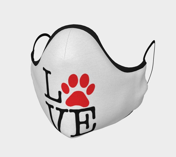 Love Paw Print, Face Mask, 7 Sizes, Filter Pocket, Filters, 100% Cotton, I Love Dogs, I Heart Dogs