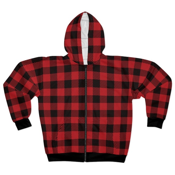Red & Black Checkered Unisex Zip Fleece Hoodie