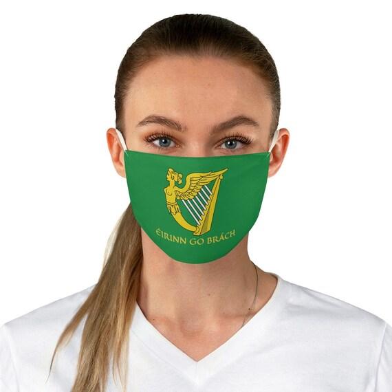 Eirinn Go Brach, Cloth Face Mask, Washable, Reusable, Green Harp Flag, St. Patrick's Day, Coat Of Arms, Irish Pride