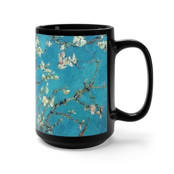Almond Blossoms, Black Ceramic Mug, 15oz, Vincent Van Gogh, Coffee, Tea