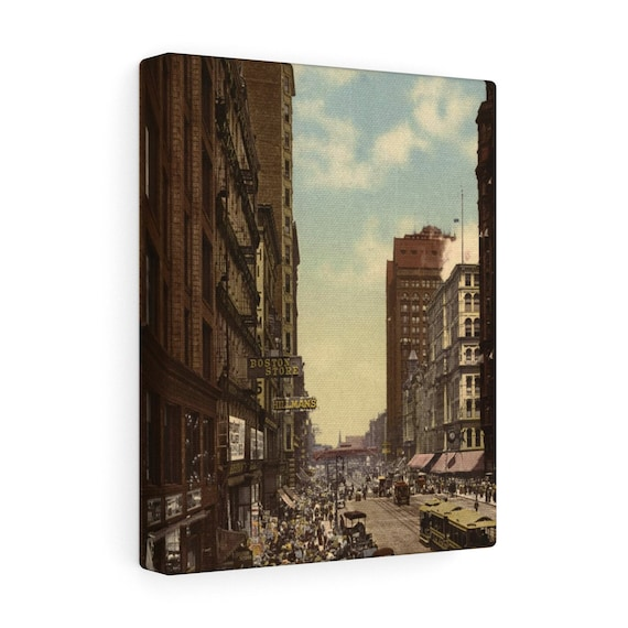 Wrapped Canvas With Vintage Photo Of State Street In Chicago From An Antique Postcard Circa 1890 To 1900