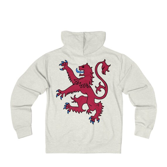 Lion Rampant of Scotland, Unisex French Terry Zip Hoodie, 5 Colors, Royal Banner of the Royal Arms of Scotland, Scottish Pride