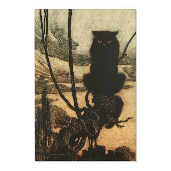 Black Cat, 2'x3' Door Mat & 4'x6' Area Rug Sizes, Halloween, Vintage Illustration, Arthur Rackham, 1920