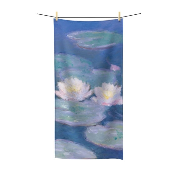 Water Lilies, Bath Towel, Vintage Painting, Monet,Circa 1880