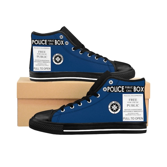 TARDIS, Men's High-top Sneakers, Inspired By Doctor Who