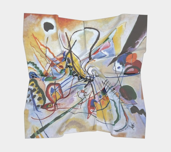 Violet Wedge, Silk Scarf, Square, 4 Sizes, Wassily Kandinsky, Abstract