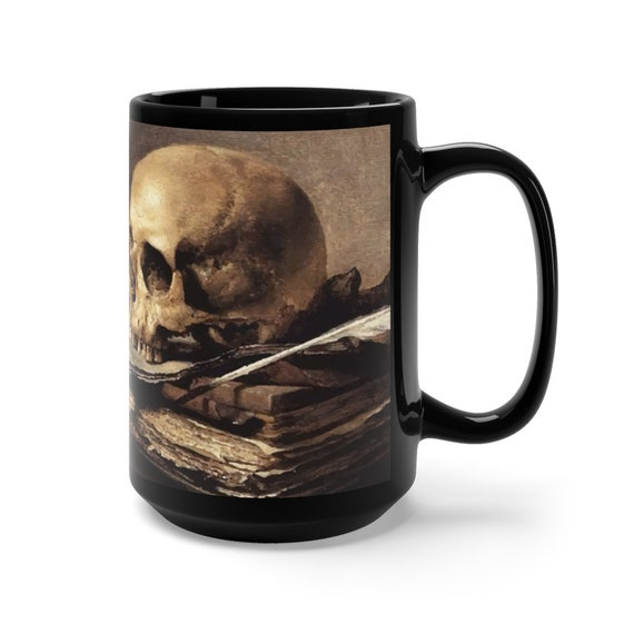 Skull Looking Left, Black 15oz Ceramic Mug, Vanitas Still Life
