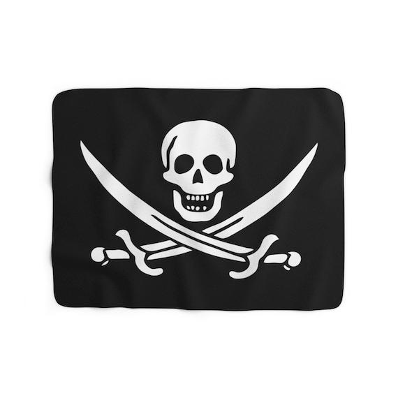 Jolly Roger Pirate Flag Sherpa Fleece Blanket, Skull And Crossed Cutlasses