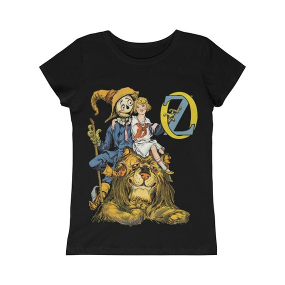 Dorothy, The Scarecrow & The Cowardly Lion, Girls Princess Tee, Black, Wizard Of Oz