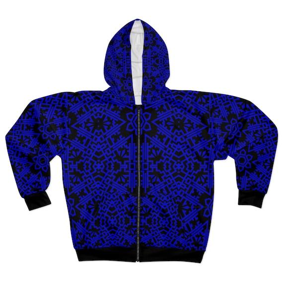 Blue Vintage Tribal Pattern, Unisex Zip Fleece Hoodie